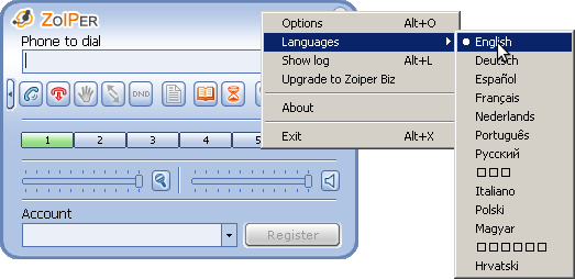 Press right mouse button on Zoiper window, then choose English language, if needed.