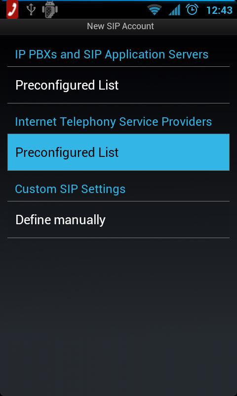 Оберіть опцію Preconfigured List в розділі Internet Telephony Service Providers