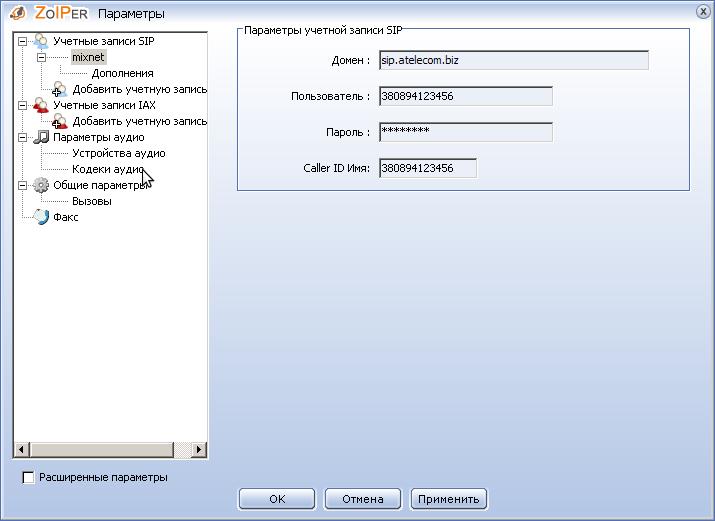Далі, введіть наступні параметри: Domain (Домен): psip.mixnet.ua Пользователь:Номер телефону (наприклад, 380894123456) Пароль:Ваш пароль Caller ID Name: Номер телефону  Перейдіть у розділ Кодеки аудио: